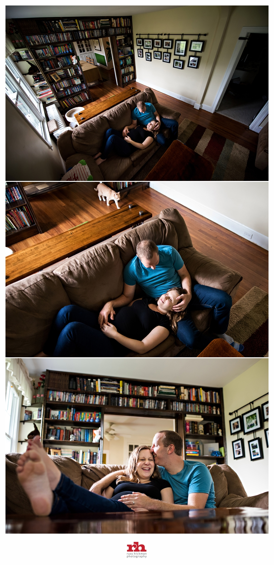 A pregnant couple lay on the couch during their Philadelphia Maternity Session.