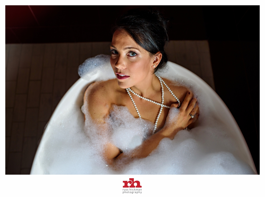 A beautiful Bride in a bubble bath during her Boudoir Session in Philadelphia!