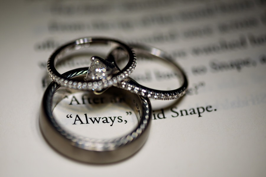 Wedding Rings circling the word Always from the book Harry Potter and the Deathly Hallows